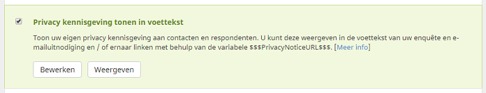 activeer de instelling ``privacy kennisgeving tonen in footer``