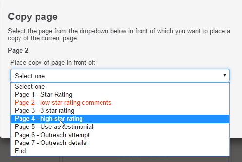 select where you want to put the new page