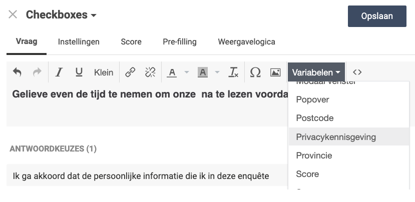 privacy kennisgeving variabele