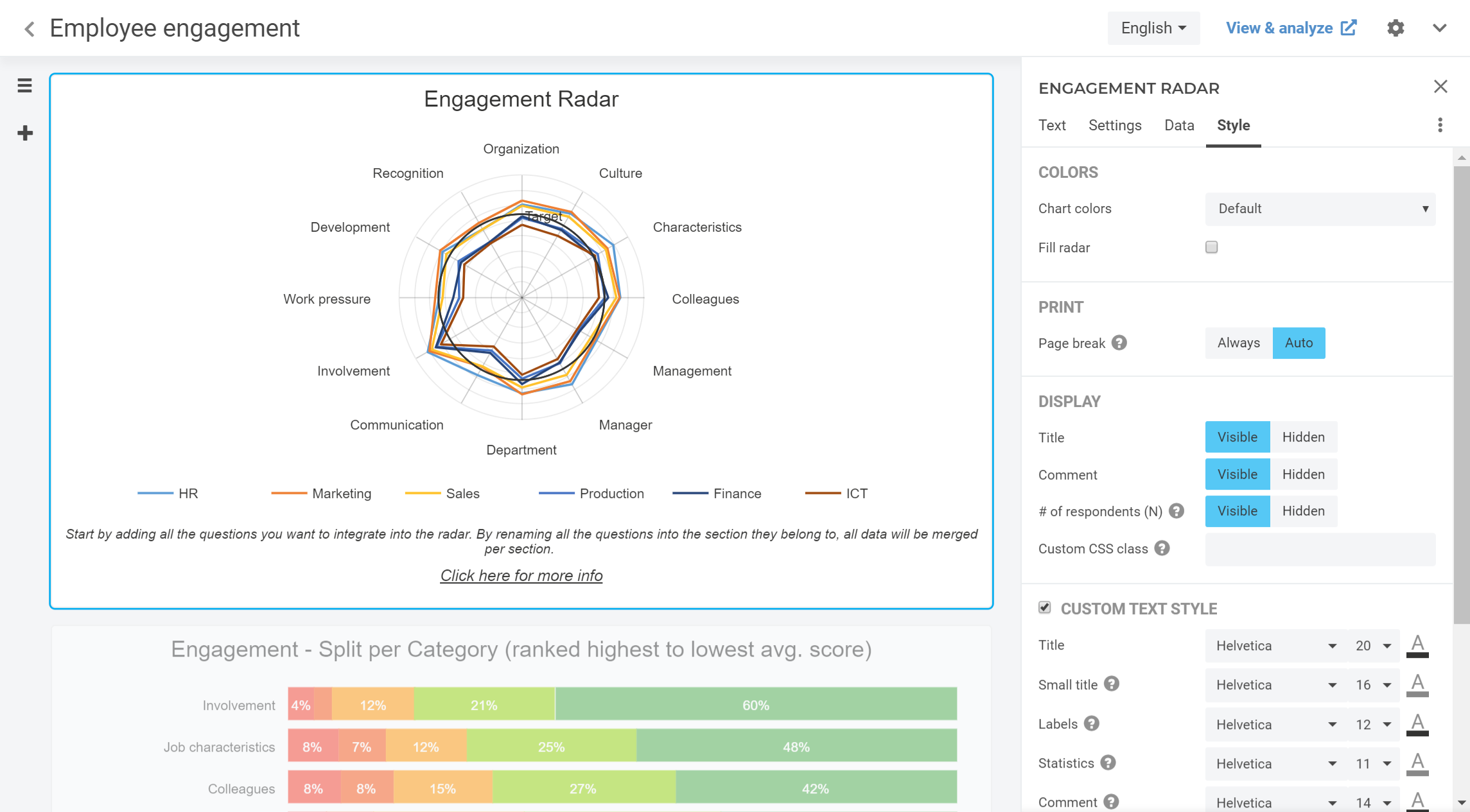 CheckMarket employee engagement report spider chart